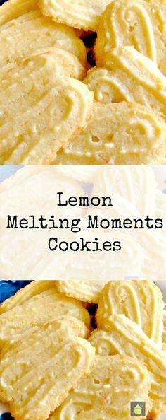Lemon Melting Moments Cookies - A wonderful gentle lemon flavor with a melting sensation! Lemon Melting Moments Cookies - A wonderful gentle lemon flavor with a melting sensation! Lemon Desserts, Lemon Recipes, Cookie Desserts, Just Desserts, Baking Recipes, Sweet Recipes, Cookie Recipes, Delicious Desserts, Dessert Recipes