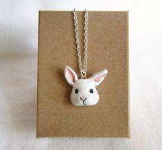Bunny Necklace White Bunny Polymer Clay jewelry by FlowerLandShop, $32.00