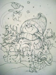 Christmas print. Cute snowman and animals. Quaint. Christmas Colors, Christmas Art, Tole Painting, Snowman Coloring Pages, Christmas Coloring Pages, Coloring Book Pages, Printable Coloring Pages, Colouring, Coloring For Kids