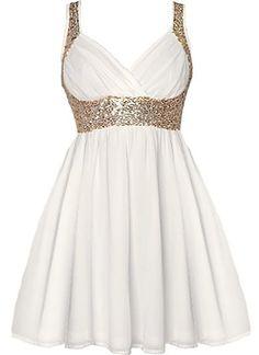 ricketyrack's save of Grecian Glitz Dress | Gold Sequin White Babydoll Dresses | Rickety Rack on Wanelo