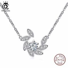 13fb17be7 ORSA JEWELS 100% 925 Sterling Silver Crystal Paved Pendants&Necklaces for  Women Rhodium Color Fashion Jewelry SN36