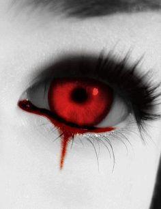 Goth: Bloodred eyes, bloody tears.