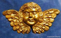 Anjo Barroco de Parede - Policromia sobre Terracota
