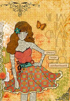 Lovely Art Journaling by Holly Takatsuka. I love the girl on this page! So cute!