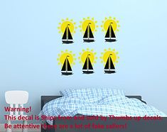Wall Decals Ship Sun Vinyl Sticker Home Decor Nautical Decor Bedroom Dorm Nursery Room aa28 * You can find more details by visiting the image link.