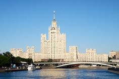 Moskva river and soviet time building in Moscow, Russia