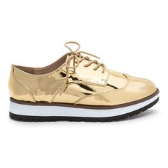 Tomboy Style Metallic Oxford Flats ($31) ❤ liked on Polyvore featuring shoes, oxfords, metal, lace up oxfords, platform shoes, platform oxfords, metallic flats and flat shoes