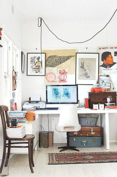You won't mind getting work done with a home office like one of these. See these 20 inspiring photos for the best decorating and office design ideas for your home office, office furniture, home office ideas Workspace Inspiration, Interior Inspiration, Design Inspiration, Design Ideas, Blog Design, Interior Ideas, Design Design, Studio Design, Nursery Inspiration