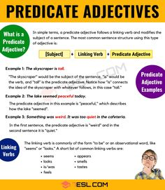 What Is A Predicate Adjective? Useful Predicate Adjective Examples - 7 E S L English Adjectives, English Verbs, English Phrases, English Language, Language Arts, Grammar Posters, Grammar And Vocabulary, English Vocabulary, Teaching English Grammar