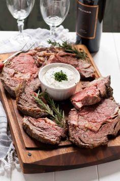 Garlic Rosemary Prime Rib Roast with Horseradish Cream