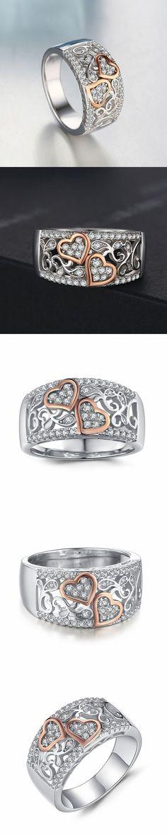 Lajerrio Jewelry Round Cut White Sapphire S925 Wedding Bands