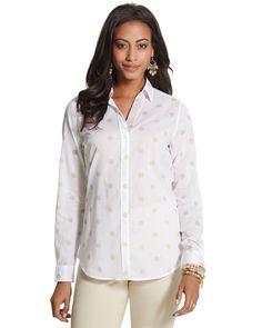 Chico's Women's Bold Dot Sasha Shirt, Optic White, Size: 0 (4/6, XS)