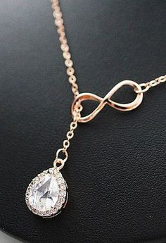 LUX Cubic Zirconia Halo Style Pendant with infinity charm Bridal Necklace Bridesmaid Necklace