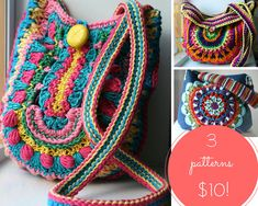 Crochet patterns, 3 crochet purse patterns sale, crochet mandala purse patterns…