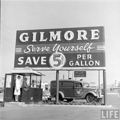 Pictures of Gilmore Oil's Gas-a-teria, one of the first self serve gas stations in Los Angeles, 1948.