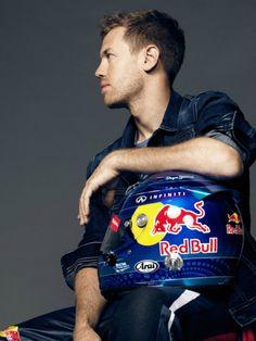 Sebastian Vettel at a photoshoot for Pepe Jeans' 40th anniversary