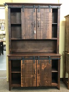 Amish made barn door custom hutch crafted from pine. This barn door custom hutch can be ordered in another color or stain. Colorful Furniture, Repurposed Furniture, Unique Furniture, Shabby Chic Furniture, Rustic Furniture, Diy Furniture, Luxury Furniture, Furniture Websites, Furniture Shopping