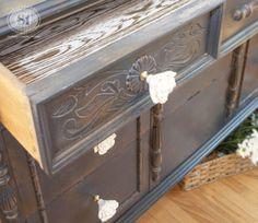 Inside Lined Drawer on Painted Dresser