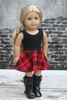 18 Inch Doll Clothes Skull Top Plaid Skirt Pink