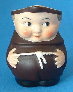 Little Monk Friar Tuck Hummel Cream Jug West Germany Black Shoes 1950s Creamer