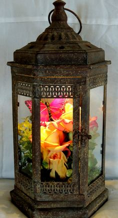 Rustic Lighted Flower and Butterfly Lantern by ForeverTerrariums, $60.00 - But I think I could just make something like this out of leftover wedding decorations.