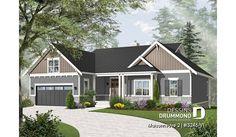 Version couleur no. 1 - Vue avant du plan de maison unifamiliale 3246-V1