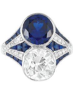 """Art Deco ""Toi et Moi"" Engagement ring~ Platinum, Diamond and Sapphire Ring. One cushion-shaped diamond ap. 2.25 cts., c. 1920."