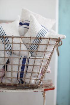 lavender pillows made from antique European grain sacks