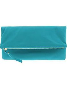 "Flavia Foldover Clutch/ measures 12"" x 6 1/2"" when folded"