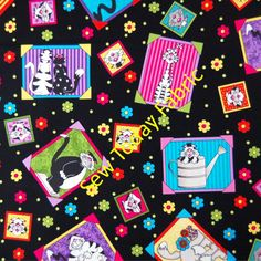 Framed Cats on Black - Caterwauling Tales by  Sue Marsh - RJR 0915-2 (sold by the 1/2 yard)