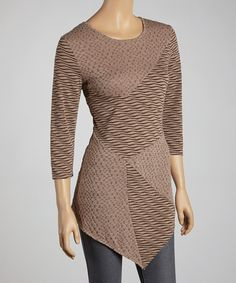 Take a look at this Zashi Coffee Wave Patchwork Top on zulily today!