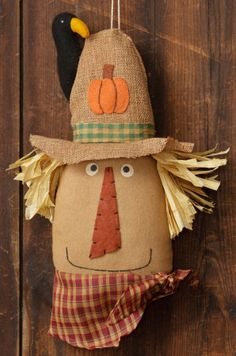 Fall and Halloween - Fine Country Living Primitives - Primitive Colonial Country Home Decor Primitive Scarecrows, Primitive Autumn, Primitive Crafts, Primitive Pumpkin, Thanksgiving Projects, Fall Projects, Craft Projects, Craft Ideas, Sewing Projects
