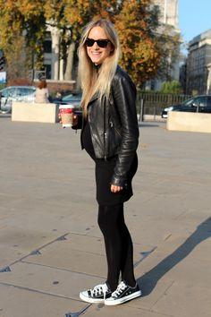 all black. chucks. leather jacket. bebe bump.