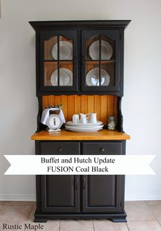 Oak Buffet And Hutch With Fusion Mineral Paint In Coal Black Rustic Maple