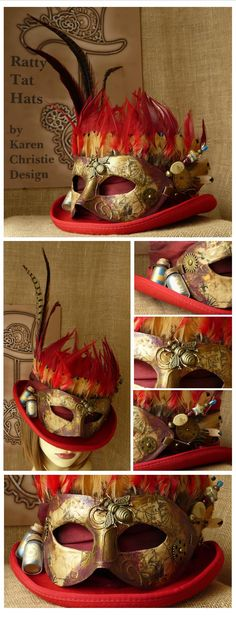 Decoupage Masquerade Masked Scarlet Red Steampunk Deadman Top Hat, Curtain Call by Ratty Tat Hats, a custom make for awell travelled actress. Custom designs created to order, current order time 4 weeks. Moda Steampunk, Steampunk Hut, Steampunk Top Hat, Steampunk Mask, Steampunk Crafts, Steampunk Costume, Steampunk Clothing, Steampunk Fashion, Victorian Fashion