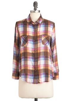Plaid You Wish Top - Brown, Yellow, Blue, Pink, Plaid, Buttons, Pockets, Casual, Vintage Inspired, 90s, Long Sleeve, Mid-length, Rustic, Jersey
