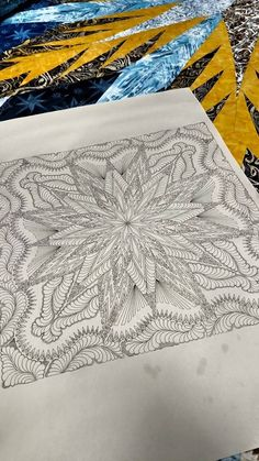 Beautiful... Not all that easy... Lots to fit in to lots of spaces, but beautiful. final testing of the feathered star queen quilting design... Designed by Angela Walters, digitized by Quiltworx... We've taken a few runs at this one, but we hope it will be worth it.