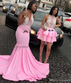 Looking for Prom Dresses in Stretch Satin, Mermaid style, and Gorgeous work? Babyonlinewholesale has all covered on this elegant Pink V-neck Halter Sleeveless Appliques Long Mermaid Prom Dresses. Black Girl Prom Dresses, Senior Prom Dresses, V Neck Prom Dresses, Cute Prom Dresses, Prom Outfits, Evening Dresses, Girls Dresses, Dress Prom, Suits