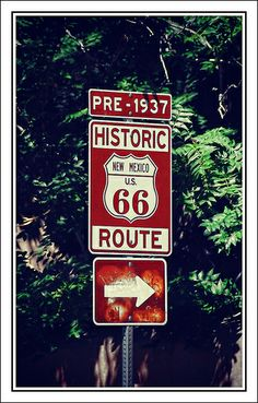 """Route New Mexico USA . I would live to rent a convertible and just drive Route 66 ."""" Used this sign for art.kids cut out shape of Route 66 sign then they wrote Route 66 on top. Kinda a lot for them to write"""" AF Old Route 66, Route 66 Road Trip, Historic Route 66, Travel Route, Travel Usa, Places To Travel, Places To See, Usa Roadtrip, Alaska Travel"""