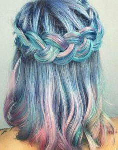 rainbow candy colour hair.