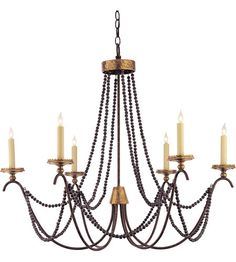 Visual Comfort E.F. Chapman Marigot 6 Light Chandelier in Hand Painted Rust Finish CHC1415R #visualcomfort #lightingnewyork #lighting