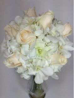 White & Ivory Bridal bouquet Hydrangea, roses and orchids - Harriet's Flowers, Ruskin, FL