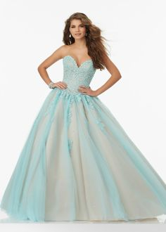 Modern Beaded Lace Sweetheart Bodice Corset Back Aqua Nude Prom Ball Gown