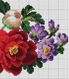 Embroidery Patterns, Cross Stitch Patterns, Cross Stitch Pillow, Jean Crafts, Cross Stitch Flowers, Needlepoint, Needlework, Bouquet, Canvas