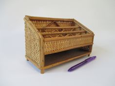 Desk Organizer, Vintage Bamboo and Wicker, Bill Letter Envelope Note Sorter, Tan Brown Tropical Beach Cottage Decor Photo Display Prop by HobbitHouse on Etsy