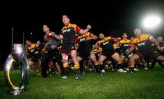 Waikato Chiefs' rugby players perform the Haka after their Super 15 rugby union final match against the Coastal Sharks at Waikato Stadium in Hamilton, on August 4.