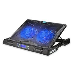 Laptop Cooling Pad, TeckNet Gaming Laptop Notebook Cooler Cooling Pad Stand with Dual Speed Adjustable Fans and LCD Temperature Display, Fits Inches Gaming Notebook, Notebook Laptop, Stand Fan, Laptop Cooler, Led Bleu, Laptop Cooling Pad, Pc Parts, Billboard