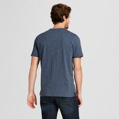 Men's Short Sleeve Henley Shirt - Merona Blue Xxl