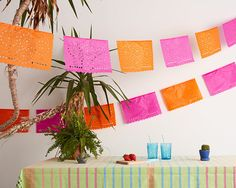 Mexican fiesta decor. Papel Picado Garland. Lace Bunting. Bunting for Weddings & Parties. Bridal shower decor. Party decoration.