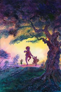 """Winnie the Pooh enjoys his day with Christopher Robin and Piglet, in Harrison Ellenshaw's """" Best Friends""""! Winne The Pooh, Winnie The Pooh Quotes, Winnie The Pooh Friends, Christopher Robin, Arte Disney, Disney Pixar, Disney Bound, Disney Magic, Hundred Acre Woods"""